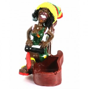 CERAMIC ASHTRAY RASTA GUITAR LADY
