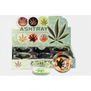 GLASS ASHTRAYS - LEAF ( 6 CT / DISPLAY)