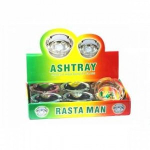 GLASS ASHTRAYS - RASTA MAN ( 6 CT / DISPLAY)