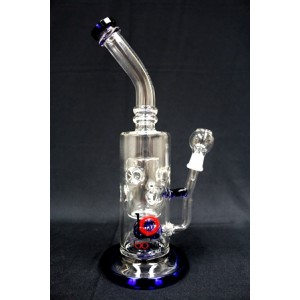 LOOKAH SMOKING INCLINED GLASS WATER PIPE WITH GEAR PERC AND INSIDE CYLINDER WITH PORES